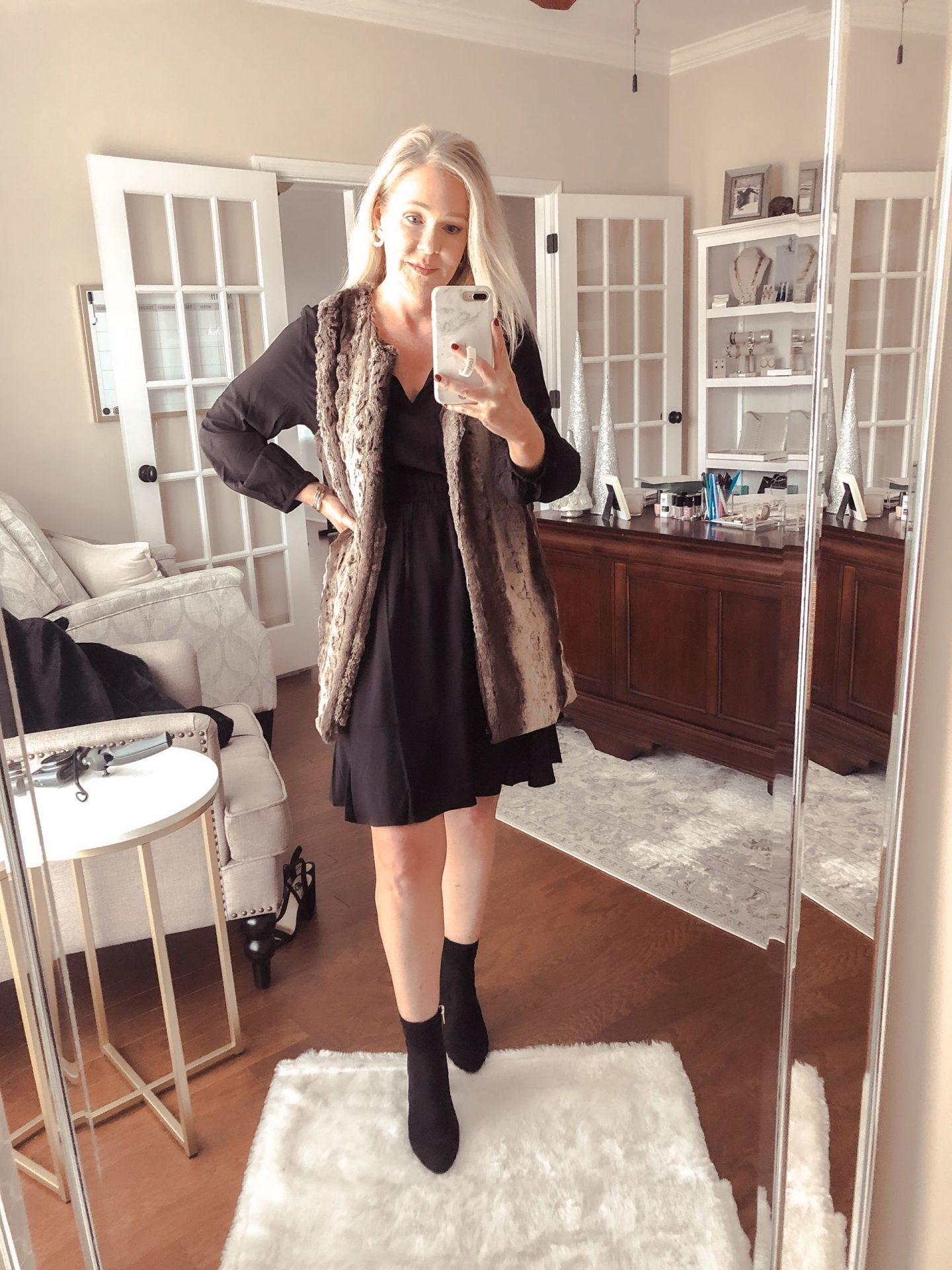 black dress faux fur vest ankle bootie