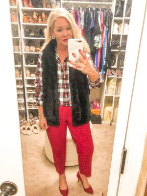 red lace pants plaid top