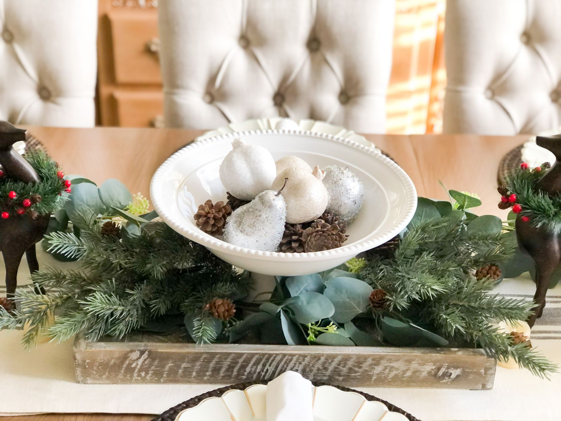 Neutral holiday table centerpiece