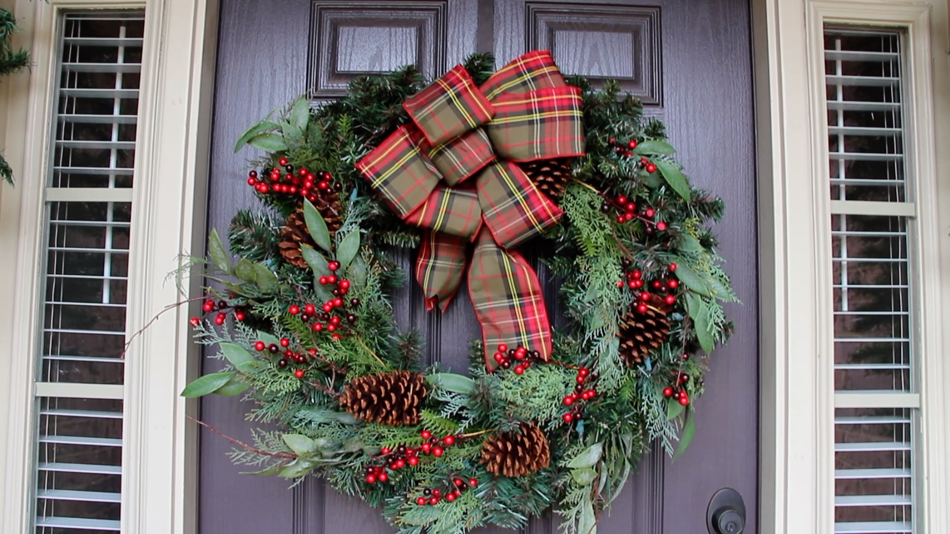 wreath with plaid bow
