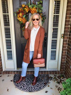 rust cardigan misscrystalblog